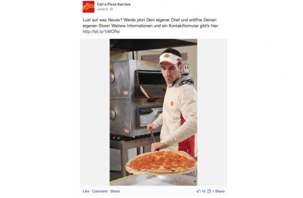 """Recruiting-Flop des Jahres: """"Call a Pizza"""" nervt mit penetrantem Dauer-Posten der immer selben Anzeige. (Screenshot: Goldene Runkelrübe)"""