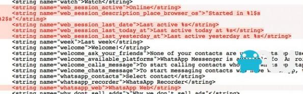 Dieser Code-Schnipsel soll Hinweise auf WhatsApp-Web-Version enthalten (Grafik: AndroidWorld.nl)