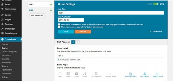 Die Erstellung von Online-Seminaren geht mit CoursePress mit wenigen Klicks. Neben Text-Teilen sind auch Audio-, Video-, Multiple-Choice-Teile und vieles mehr mit an Bord. (Screenshot: CoursePress)
