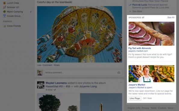 Das neue Design der Sidebar-Anzeigen von Facebook. (Quele: Facebook)