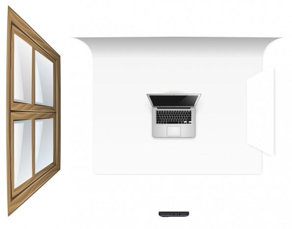 Die Grafik verdeutlicht dir, wie der Aufbau für dein Produktfoto aussehen sollte (Grafik: Isolde Kommer).