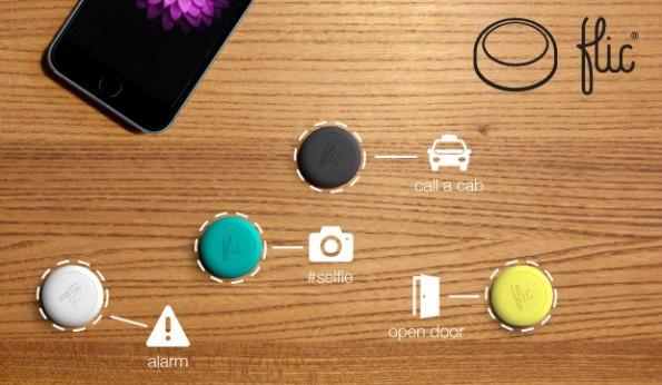 Ein Klick, eine Aktion: Der Button flic kann verschiedene Aktionen auf dem Smartphone durchführen. (Bild: flic)