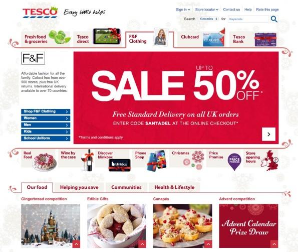 In Großbritannien verkauft die große Supermarktkette Tesco erfolgreich in großen Mengen online. (Screenshot: Tesco)