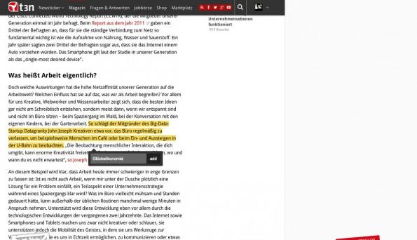 Für Chrome und Android: Mit Markticle könnt ihr euch Textstellen markieren und jederzeit an genau diese Position springen. (Screenshot: t3n.de)