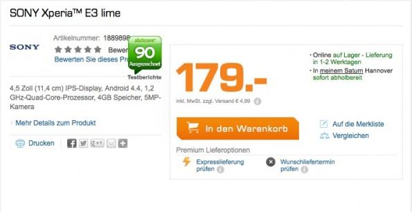 Immerhin gibt Saturn dem Kunden die Möglichkeit die Verfügbarkeit der Expresslieferung vorab zu prüfen. (Screenshot: Saturn.de)