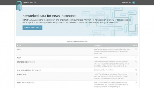 Newsclip.se: Das Tool soll Journalisten bei ihrer Arbeit unterstützen. (Screenshot: Newsclip.se)