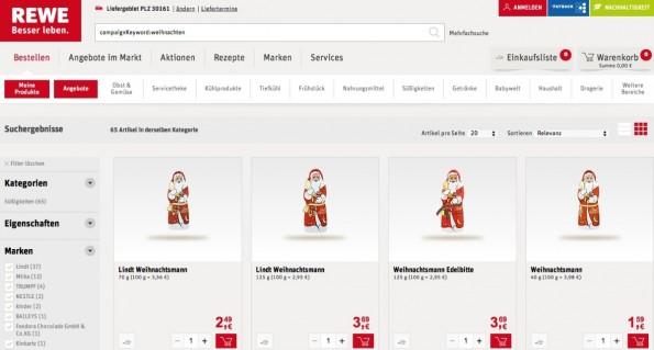 Lebensmittel online bestellen: Rewe versucht sich derzeit an der Umsetzung in einigen Ballungsgebieten. (Screenshot: Rewe)
