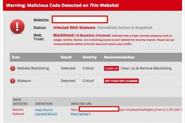 Eine Infektion mit der Malware kann dazu führen, das eure Seite von Google auf die Blacklist gesetzt wird. (Screenshot: hackernews.com)