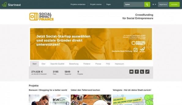 Crowdfunding wird auch von Sozialunternehmern gerne genutzt. (Screenshot: Social Impact Finance)