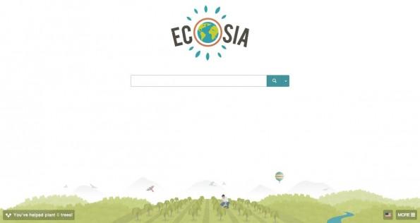 Suchmaschinen wie Benefind oder Ecosia spenden einen Teil der Werbeeinnahmen an gemeinnützige Organisationen. (Screenshot: Ecosia)