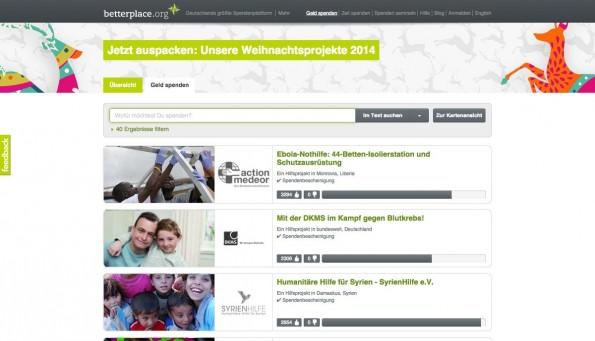 Über die verschiedenen Spendenportale könnt ihr euch direkt ein Projekt aussuchen, das ihr unterstützen möchtet. (Screenshot: betterplace.org)
