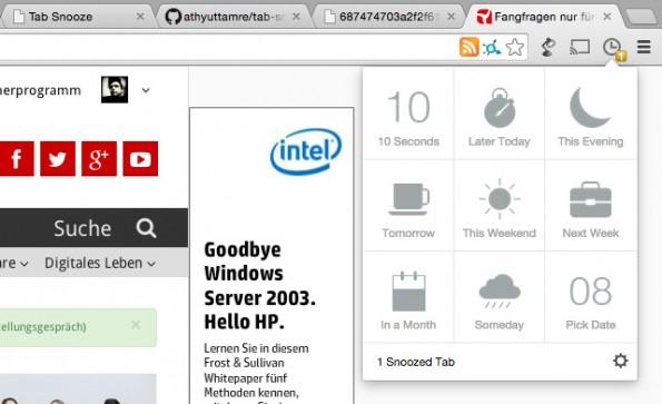 Tab Snooze: Interessante Websites werden zu einem späteren Zeitpunkt automatisch wieder geöffnet. (Screenshot: t3n.de)