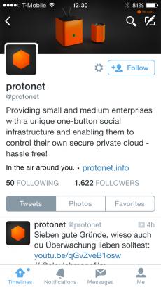 Twitter für Startups: Protonet ist ein gelungenes Beispiel, wie es auszusehen hat. (Screenshot: t3n)