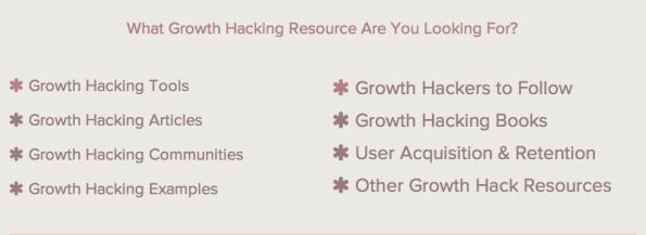 "Kategorien der ""Ultimate Growth Hacker Resource List"". (Screenshot: Autosend.io)"