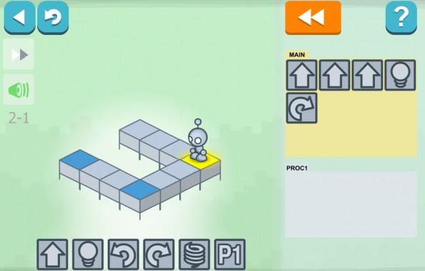 Browserspiel Lightbot bringt dir bei wie ein Programmierer zu denken. (Screenshot: Lightbot)