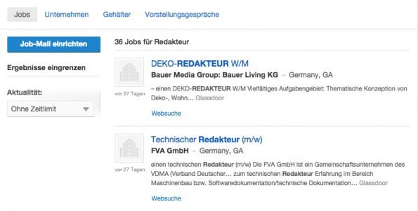 """Glassdoor-Ergebnisseite für """"Redakteur"""" – Stand: 15. Januar 2015. (Screenshot: Glassdoor)"""