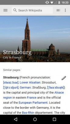 Wikipedia-App für Android in neuem Design. (Screenshot: Wikimedia Foundation)