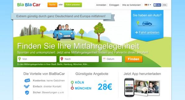 Die Startseite von BlaBlaCar. (Screenshot: BlaBlaCar)