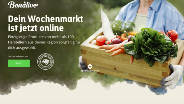 Startseite des neuen E-Food-Startups. (Screenshot: Bonativo)