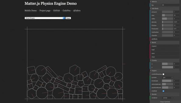 Matter.js ist eine Physik-Engine für das Web. (Screenshot: Matter.js)