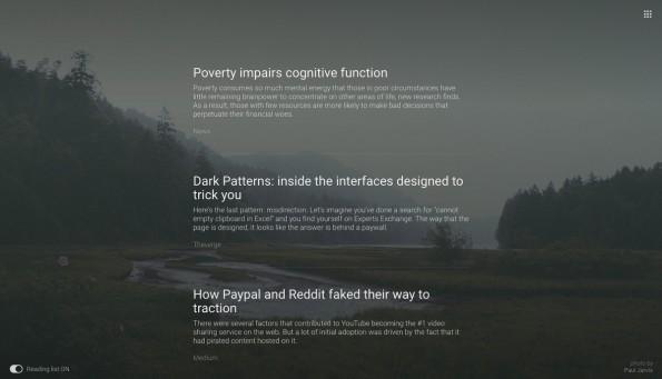 Chrome: Noosfeer macht aus neuen Tabs eine schicke Leseliste. (Screenshot: Noosfeer)