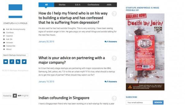 Auf Startups Anonymous können sich Gründer im Schutz der Anonymität austauschen. (Screenshot: Startups Anonymous)