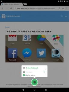 Eine App reicht Daten weiter: Abspeichern einer Webseite in Evernote (Android). (Bild: Andreas Weder)