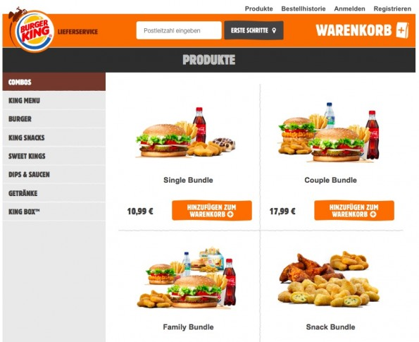 Burger King startet mit einem Online-Lieferservice (Screenshot: Burger King)