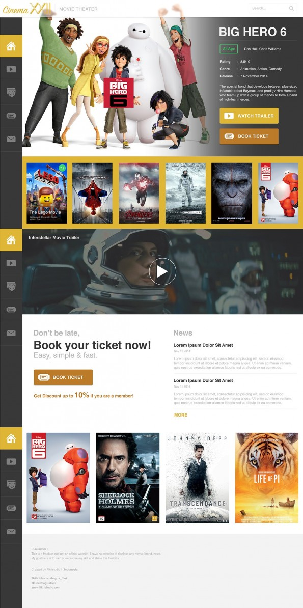 Cinema 22 - Free PSD Movie - Web-Templates