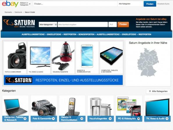 Im Saturn-Outlet bei eBay können Verbraucher sparen. (Screenshot: ebay.de/saturn)