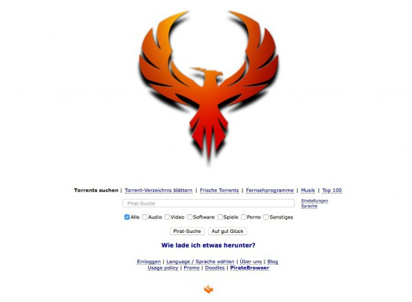 Website von The Pirate Bay mit dem Phoenix. (Screenshot: thepiratebay.se)