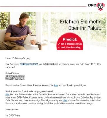 Wehe, es kommt um 14.10 Uhr (Screenshot: dpd.de)