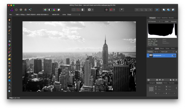 Photoshop-Alternative: Beta-Version von Affinity Photo steht zum Download bereit. (Screenshot: Affinity Photo)