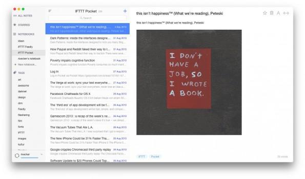 Alternote: Der alternative Evernote-Client kommt in einem schicken Design daher. (Screenshot: Alternote)