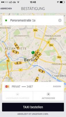 Echtzeit-Tracking bei Uber.