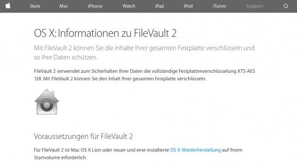 Das Verschlüsseln von Festplatten hält ungebetene Schnüffler vom Datensatz fern. (Screenshot: Apple)