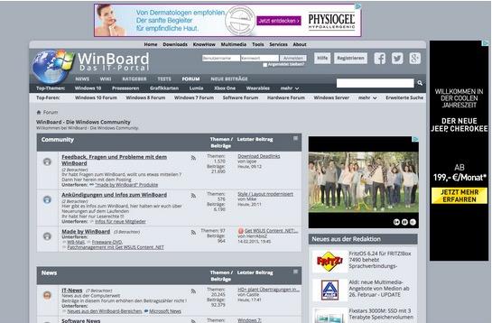 Das Forum von winboard.org. Die Werbung bekommen nur Gast-User ausgespielt. (Screenshot: winboard.org)
