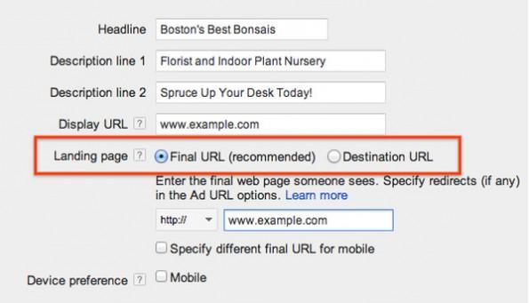AdWords: Die neuen Tracking-URLs sollen die Arbeit damit vereinfachen. (Screenshot: Google)