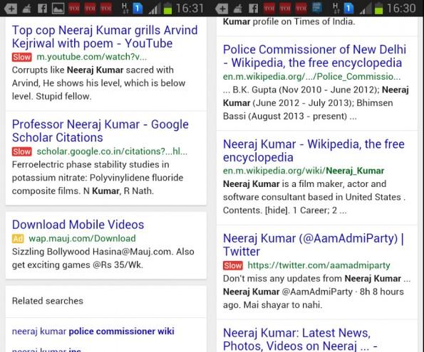 SEO: Google scheint in dem mobilen Suchergebnissen zumindest testweise vor langsamen Webseiten zu warnen. (Screenshots: Kumar Neeraj Kayastha / Google+)