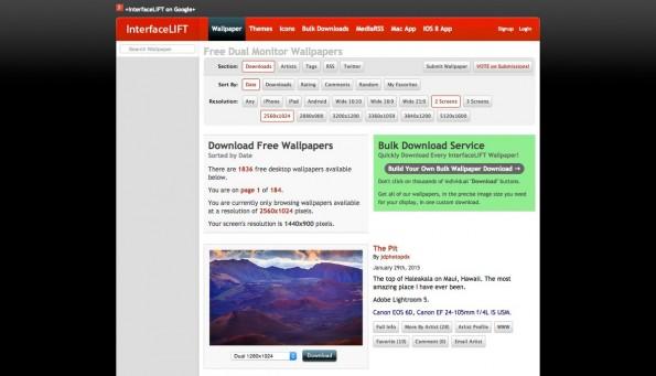 InterfaceLIFT bietet eine große Auswahl schöner Desktop-Hintergründe. (Screenshot: InterfaceLIFT)