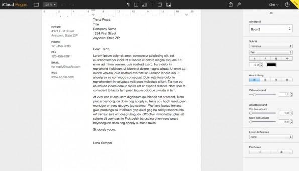 iWorks für iCloud: Die Web-Apps von Keynote, Pages und Numbers könnt ihr jetzt auch ohne Apple-Gerät nutzen. (Screenshot: Pages)