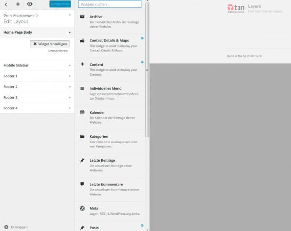 Layers bringt einige nützliche Widgets mit. (Screenshot: eigene WordPress-Installation)