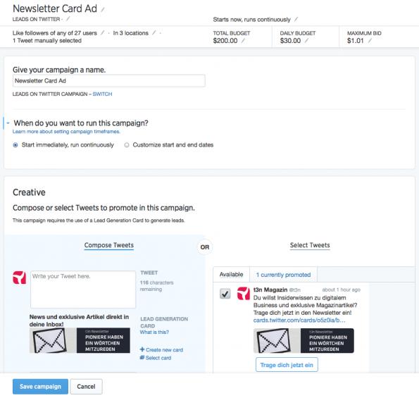 Twitter-Ads: So sieht das Dashboard aus, von dem aus ihr verschieden Aktionen organisieren könnt. (Screenshot: t3n)