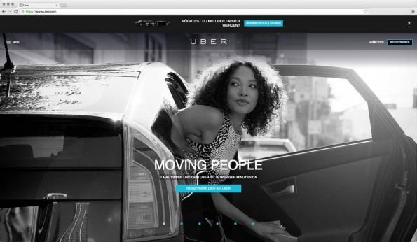 Wird unsere Wirtschaft durch das Internet zu einer Uber-Economy? (Screenshot: Uber.com)