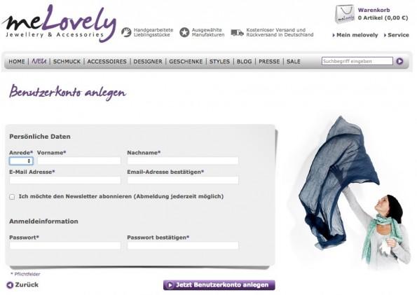 Der Stein des Anstoßes: die Bestätigung über die Anlage eines Kundenkontos. (Screenshot: Melovely)
