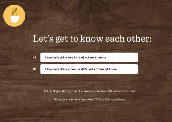 Was für ein Kaffeetrinker bist du? Craft Coffee steigt direkt mit einem kurzen Fragebogen ein.  (Screenshot: craftcoffee.com)