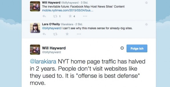 Will Hayward sieht eine Chance darin, direkt auf Facebook zu veröffentlichen. (Screenshot: Twitter)