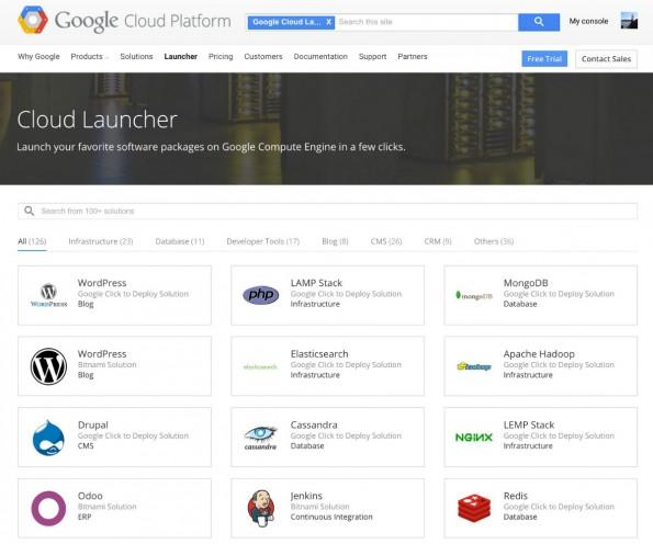 Auswahl der Pakete im Google-Cloud-Launcher. (Screenshot: Google)