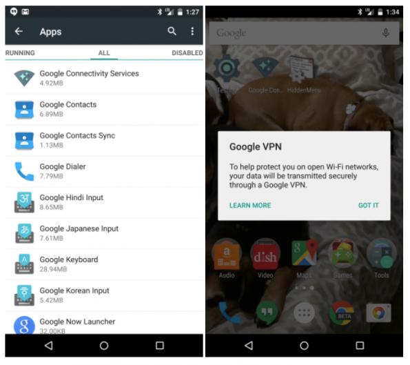 Hinweis auf Google VPN in Android 5.1. (Screenshot: Google/Pocketables)