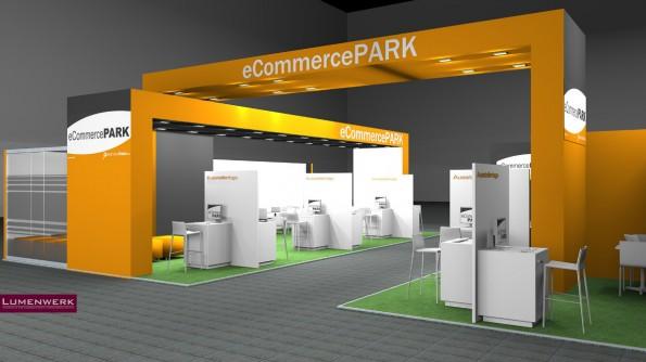 """So soll der Gemeinschaftsstand """"E-Commerce-Park"""" in diesem Jahr aussehen. (Grafik: eCommercefinder.com)"""